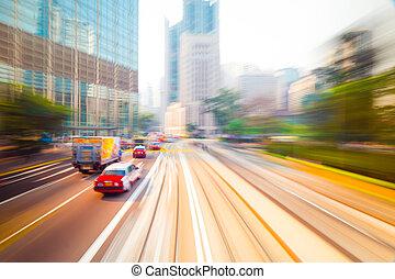 em movimento, através, modernos, cidade, RUA., Hong,...