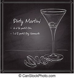 Cocktail Dirty Martini on black board - Cocktail Dirty...