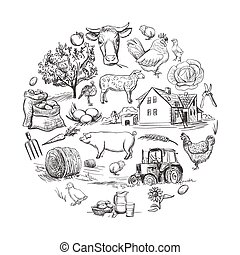 Round card with farm related items with cow, goat, pig,...