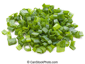 chopped spring onion or scallion isolated on white...