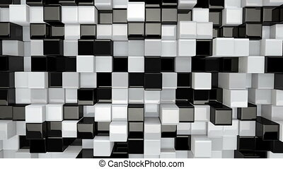 black and white 3D boxes moving seamless loop - black and...