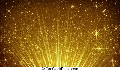 rising gold particles in light rays loopable - rising gold...