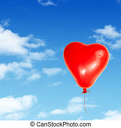 One Red Heart Detailed Balloon Isolated on White Background...