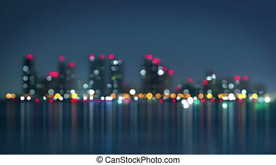 waterfront of city at night blurred loopable