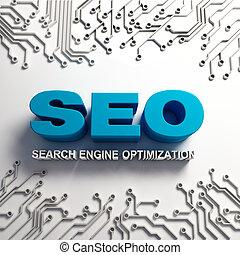3D SEO word sign with hi-tech algorithm idea
