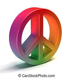 Peace symbol colorful tye dye