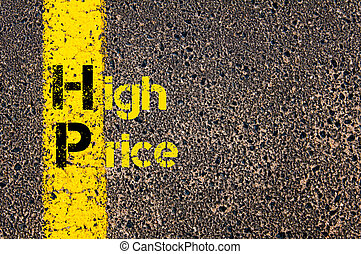 Business Acronym HP as High Price - Concept image of...