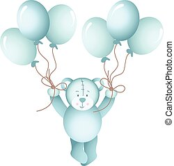 Baby boy teddy bear flying - Scalable vectorial image...