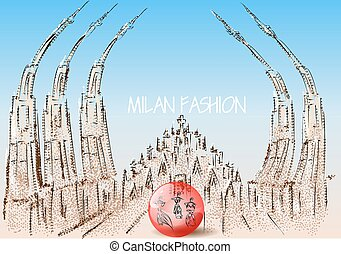 milan fashion abstract roof of cathedral and ball with dress...
