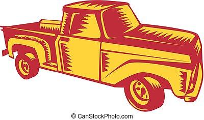 Vintage Pick Up Truck Woodcut - Illustration of a vintage...