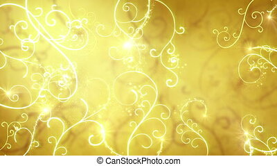 gold flourishes ornament loop background - gold flourishes...