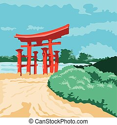 Torii Japanese Gate WPA - WPA style illustratoin of a Torii...