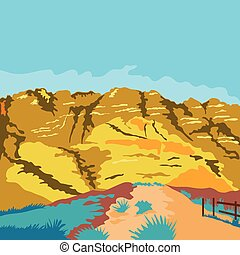 Red Rock Canyon WPA - WPA style illustration of Red Rock...