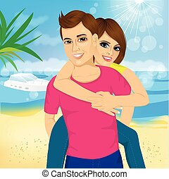 Happy couple in love on beach summer vacations Joyful girl...