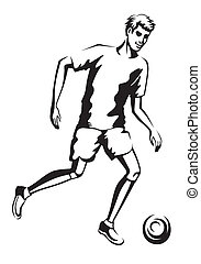 The athlete playing football - Young man sports constitution...