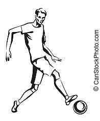 el, Atleta, juego, fútbol,