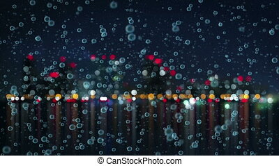 slowmotion rain and blurred night city loopable animation