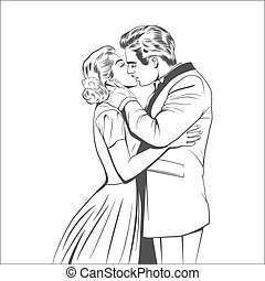 kissing couple - Kissing couple in the retro style.