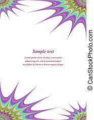 Color page corner design template - Color fractal ornament...