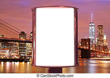 Blank billboard on the night city backgound, mock up