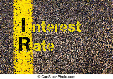 Business Acronym IR as Interest Rate - Concept image of...