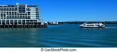 Fullers MV Quick Cat ferry sail near Princes Wharf -...