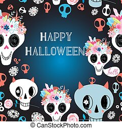 Happy Halloween vector illustration beautiful card with...