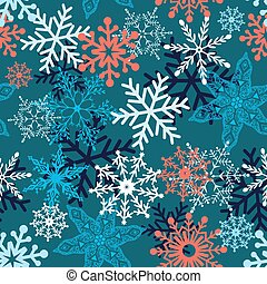 Multi-colored snowflakes form a beautiful pattern vector...