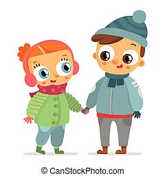 Boy and girl in winter clothes isolated on white