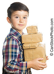 Child carrying Christmas gifts