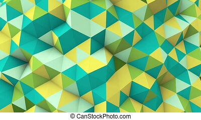 multicolor polygonal geometric surface seamless loop - green...