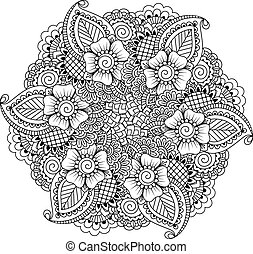 Round element for coloring book. Black and white ethnic...
