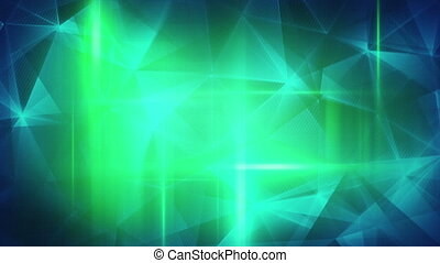 glossy blue green triangles abstract background loop