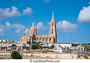Church of the town of Mgarr on the island of Gozo, Malta by...