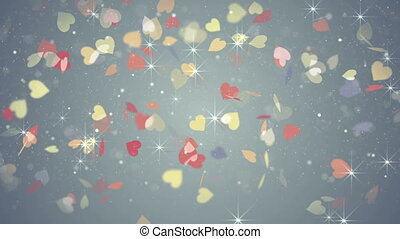 colorful hearts falling loopable background