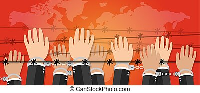human rights freedom illustration hands under wire crime...