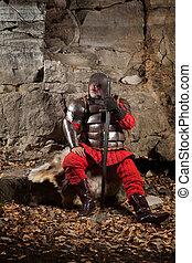 antigas, medieval, rei, em, armadura, com, espada, ligado,...