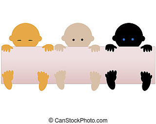 Multiracial babies - Three multiracial babies with empty...