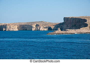 Coast of the island of Gozo, Malta by ferry
