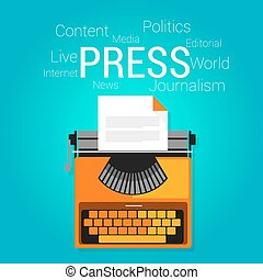 press journalism symbol type writer writing editorial vector...