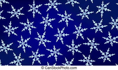 snowflakes background 4K blue - Ice crystal snowflakes of...