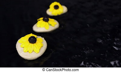 Three white stones and yellow flowers in the water and...
