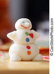 Elaboración, Snowman, De, azúcar, mastic,