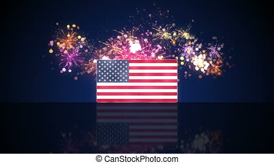 USA flag and fireworks on background loop - USA flag and...