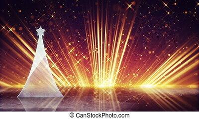 glass christmas tree and light rays loopable animation