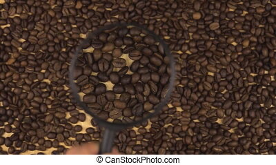 Hand with magnifying glass increases coffee beans, top view