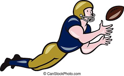 American Football Receiver Catching Ball Cartoon -...