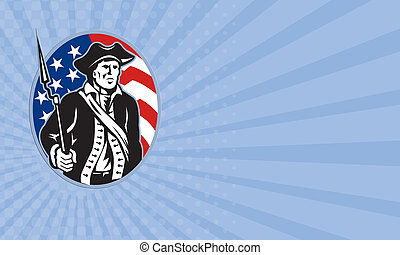 Business card American Patriot Minuteman With Bayonet Rifle...