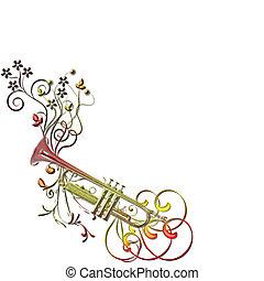 musical, instument, trompeta, flores