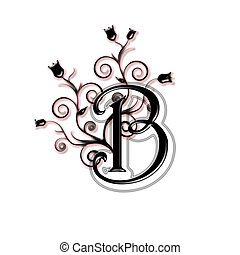Capital letter B - Black capital letter with flowers and...